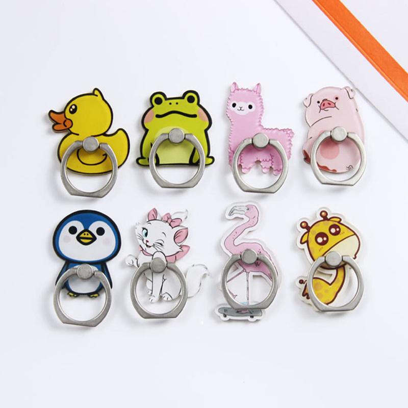 2019 New 8 Cute Duck Pig Deer Frog Cat Alpaca Flamingo Penguin Acrylic Mobile Phone Ring Bracket For Apple 6s 7 8 XR XS Max
