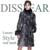 Women's Lamb Fur Coat Natural Fox Fur Jacket Long Fashion Women Winter Female Genuine Sheep Fur Overcoat Ladies Real Fox Coats