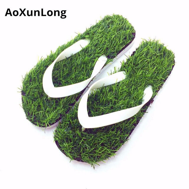Unisex Summer Men Flip Flops Green Lawn Massage Home Slippers Beach Bathroom Comfortable Men Slippers Eu 34/45 Lovers Flip Flop