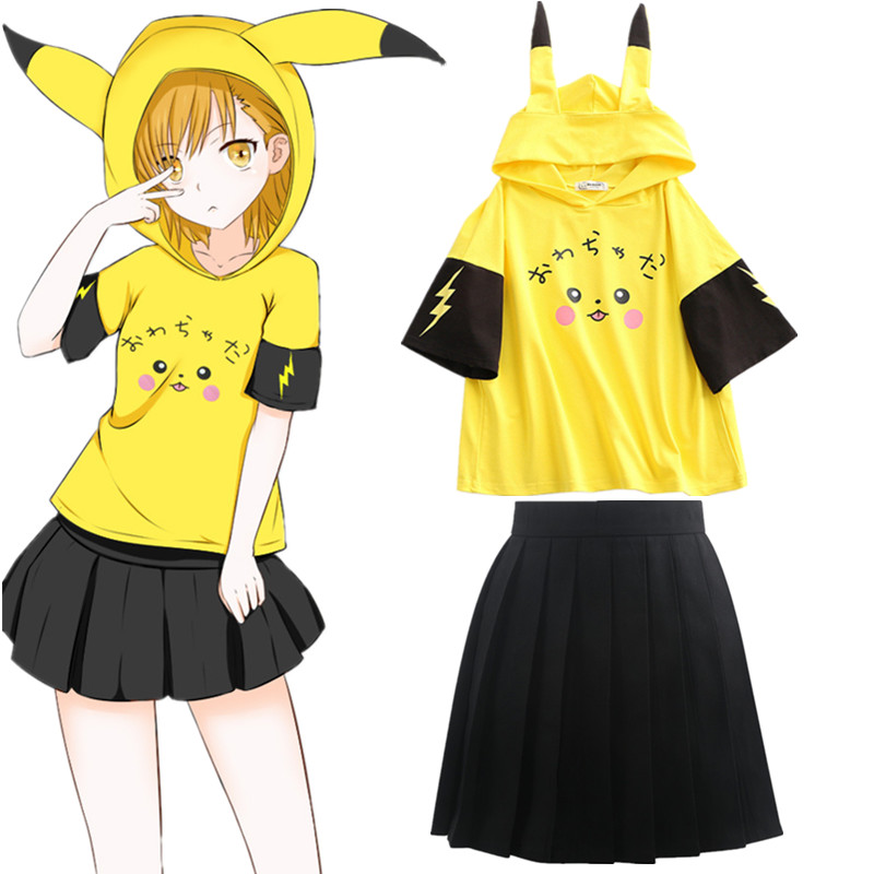Pikachu Anime Cartoon Hooded T Shirt Short Sleeve Mori Girls Cute With Ears Print Kawaii Hooded TShirt Top Tee