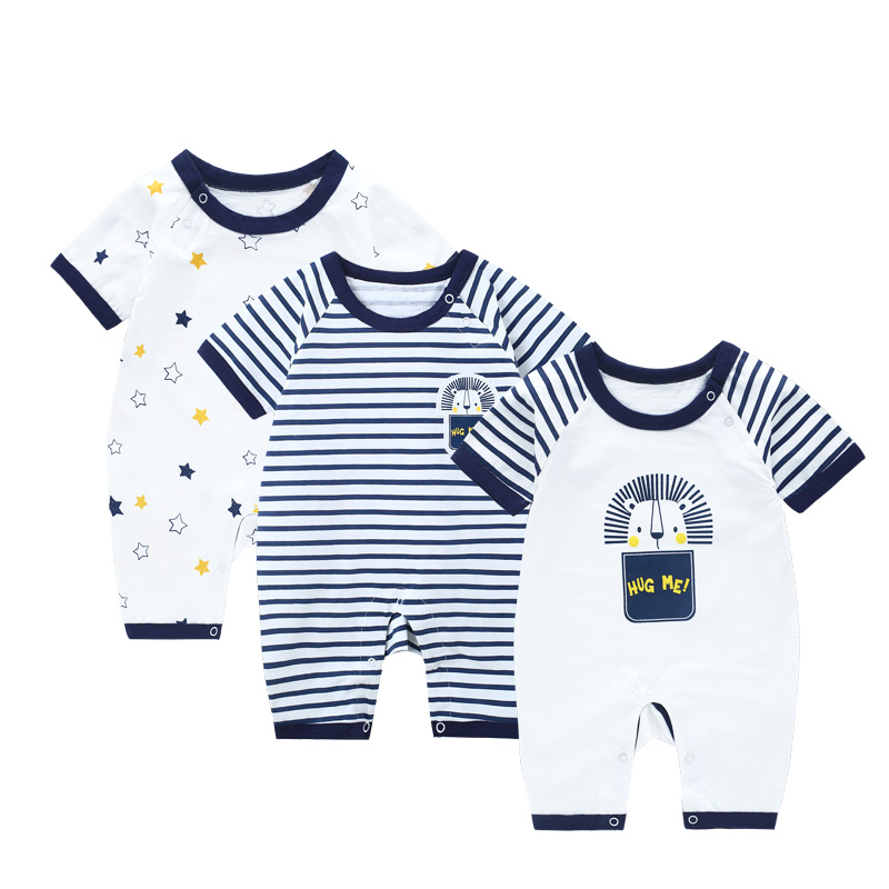 3 pcs/lot Jumpsuit Baby Boy Summer Romper Newborn Striped Baby Girl Clothes Rompers Short Sleeve Baby Boy Overalls For Newborns summer baby boy rompers 100