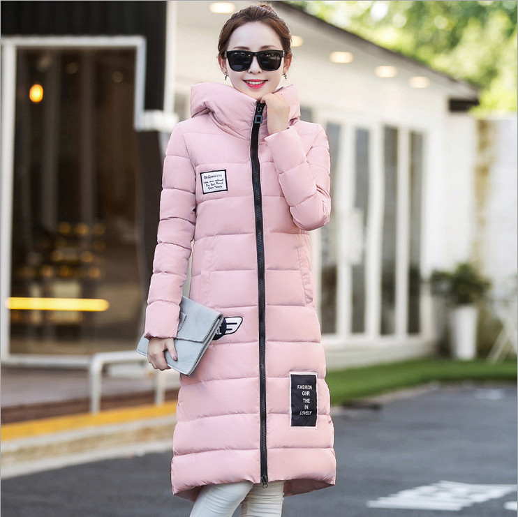 2017 Winter Korean version of the new Slim big yards long section hooded down font b