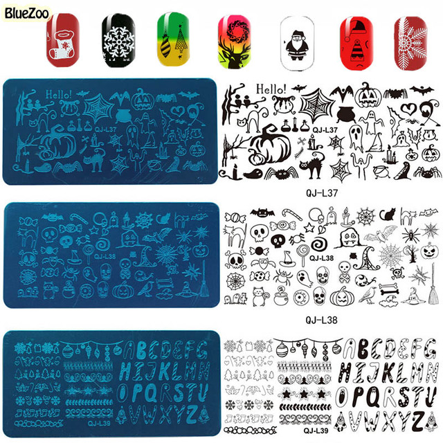 BlueZoo 12 Листов/комплект Штамповка Шаблон Для Ногтей Печати Ногтей Изображения Пластины стальной Плиты Ногтей DIY Изображения Plate Инструмент Искусства Ногтя трафареты