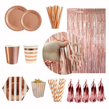 Party Supplies Rose Gold Disposable Tableware Cups Plate Straws Bachelorette Party Bride be Happy Birthday Party Decoration