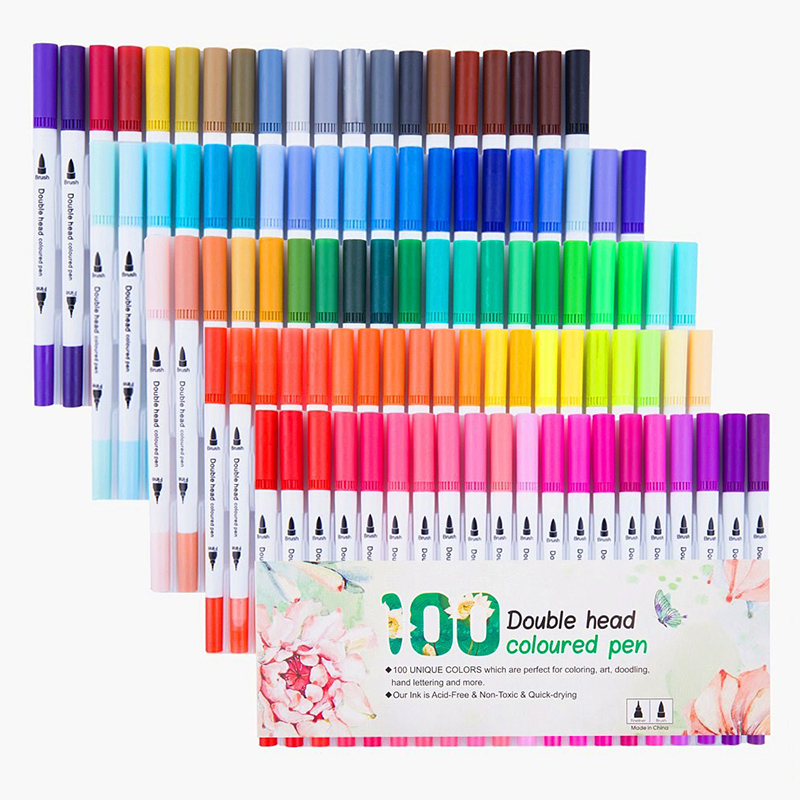 100 Colors 0 4mm Fineliner Watercolor Dual Head Sketch Markers Tip Brush Pen For Draw Coloring Books Design Art Supplies in Art Markers from Office School Supplies