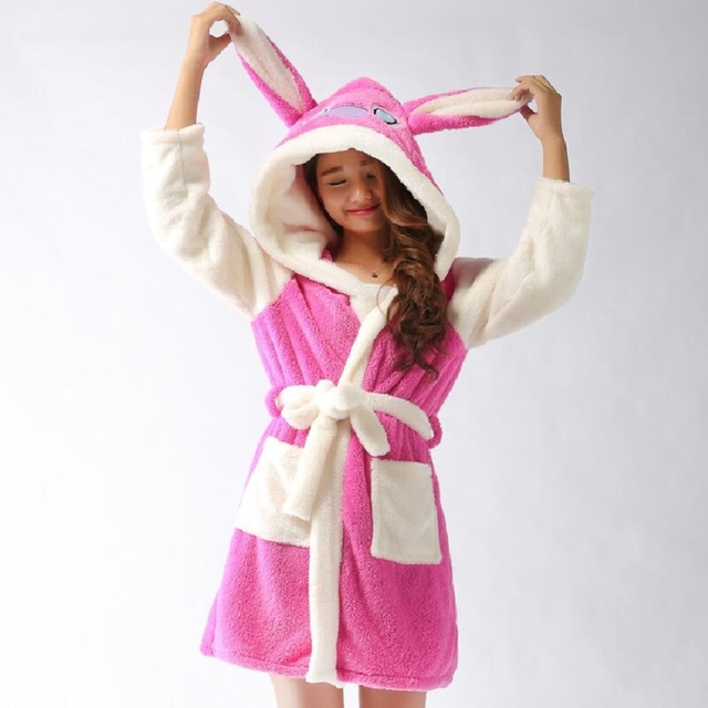 New Plush Robe Adult Animal Bunny Panda Stitch Pajamas Long Sleeve  Sleepwear Bath Robes Night Gowns 0bab24614