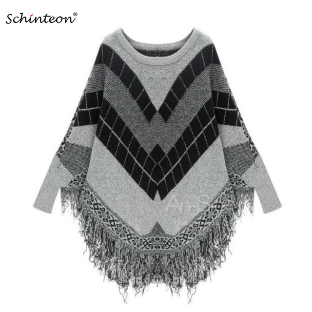 0b8a61983 Women Knitting Poncho Sweater Outwear Cloak Pullover Coats Batwing Sleeves  Knitwear Tassel Cape Long Sleeves