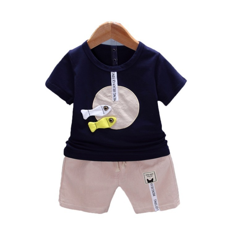 2018 New Summer Baby Boys Casual Clothing Children Clothes Sets Small Fish Cotton T Shirt Shorts Pants 2Pcs Kids Infant Suits