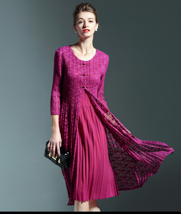 Vintage Elegant Lace Patchwork O Neck Knee-length Dress