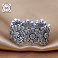 Compatible With pan jewelry 100% 925-Sterling-Silver Silver Rings For Women Flower Ring With CZ Stones diy making