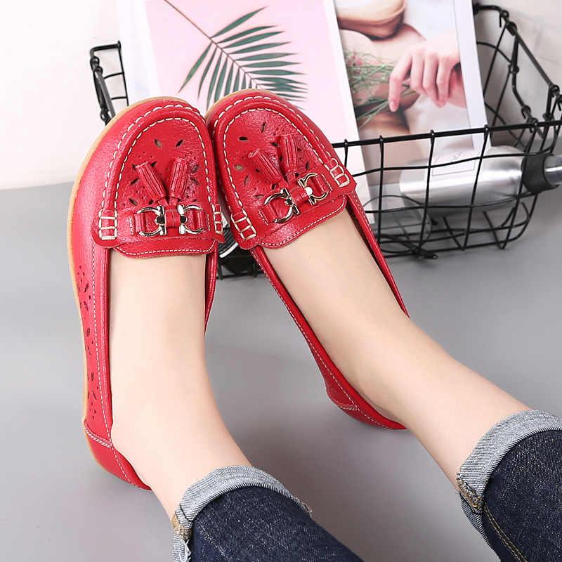 Zomer moeder schoenen vrouw flats slip op ballerina casual vrouwelijke schoenen 2019 mode kwastje echt leer loafers vrouwen schoenen