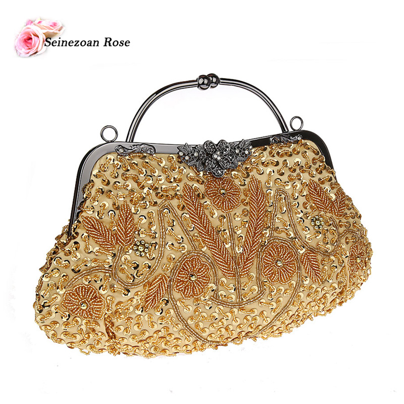 2016 Vintage Women Floral Totes Hobos Handbags Ladies Beading Sequined  Evening Wedding Bags Purses Women Shoulder Messenger Bags-in Top-Handle Bags  from ... fa8918d8491f