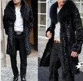 Лучшие продажи! Зима мужчины искусственного меха пальто Черный Элегантный теплый сращивания норки пальто Мягкие и удобные Фокс меховым воротником длинные искусственного меха пальто