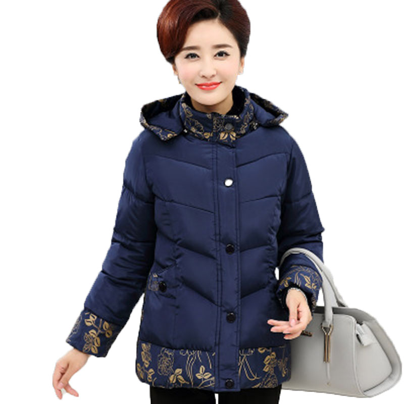 Winter cotton jacket middle age elderly women cotton coat winter mother clothing print thick wadded jacket plus size 2017 winter women plus size in the elderly mother loaded cotton coat jacket casual thickening warm cotton jacket coat women 328