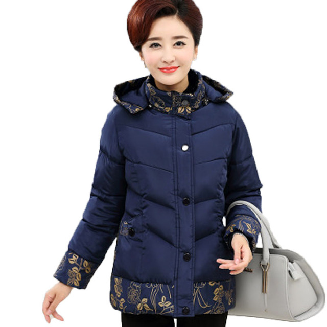 Winter cotton jacket middle age elderly women cotton coat winter mother  clothing print thick wadded jacket plus size 3bdda4a6a