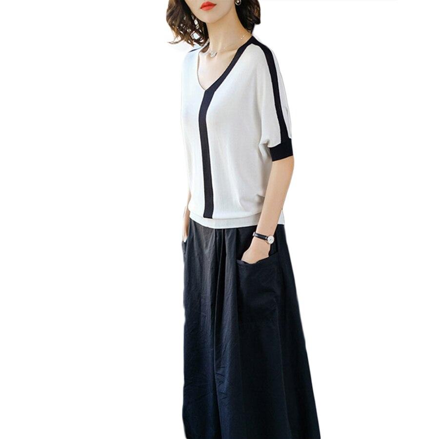 Harajuku t-Shirt femmes haut d'été tricoté t-Shirt lâche Hip Hop Patchwork t-Shirt Style coréen grande taille femmes vêtements T0014E