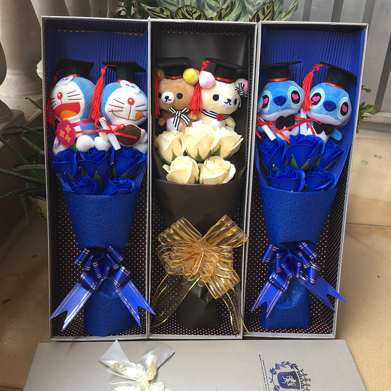 Stitch Doraemon hellokitty plush toys with Doctorial hats cartoon flower Bouquet Stuffed Animal Dolls For Graduation gifts