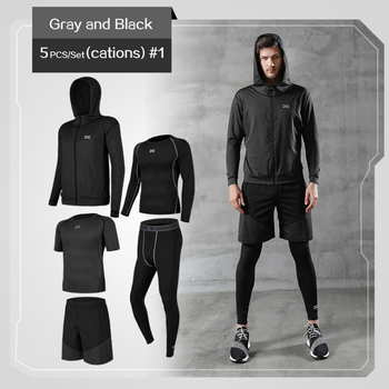 5 Pcs/Set Men's Tracksuit Gym Fitness Compression Sports Suit Clothes Running Jogging Sport Wear Exercise Workout Tights 14