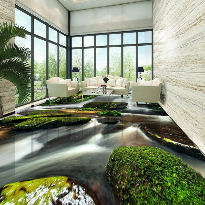 Free Shipping Green Nature Waterfalls Stone 3D Floor Painting thickened non-slip bedroom coffee house bathroom flooring mural free shipping floating suspension mountain dolphin 3d outdoor floor painting wear non slip bedroom bathroom flooring mural