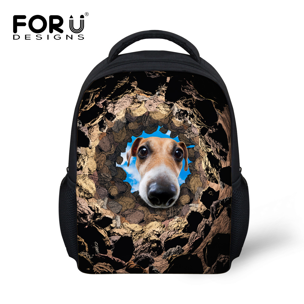 da060d1860793 Fajne Zwierząt Torby Szkolne dla Chłopców Zabawny Pies Drukowania Dziewczyny  Dzieci Przedszkole Tornister Torba Dzieci Mini Bookbags Mochila