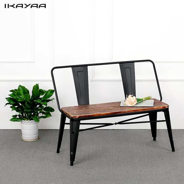 Excellent Ikayaa Outdoor Furniture Dining Bench Chair With Backrest Alphanode Cool Chair Designs And Ideas Alphanodeonline