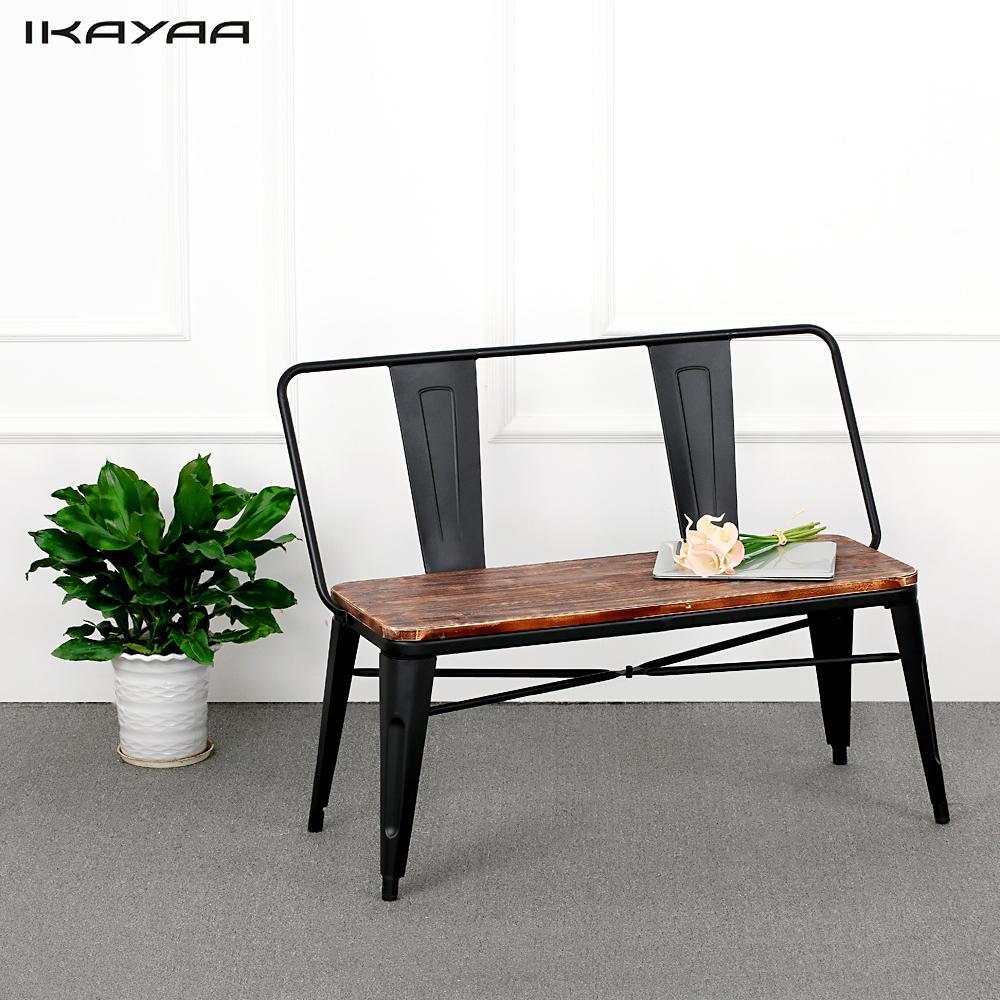 iKayaa Outdoor Furniture Dining Bench Chair With Backrest Natural Pinewood Top Metal Frame Patio Garden Bench Furniture US DE