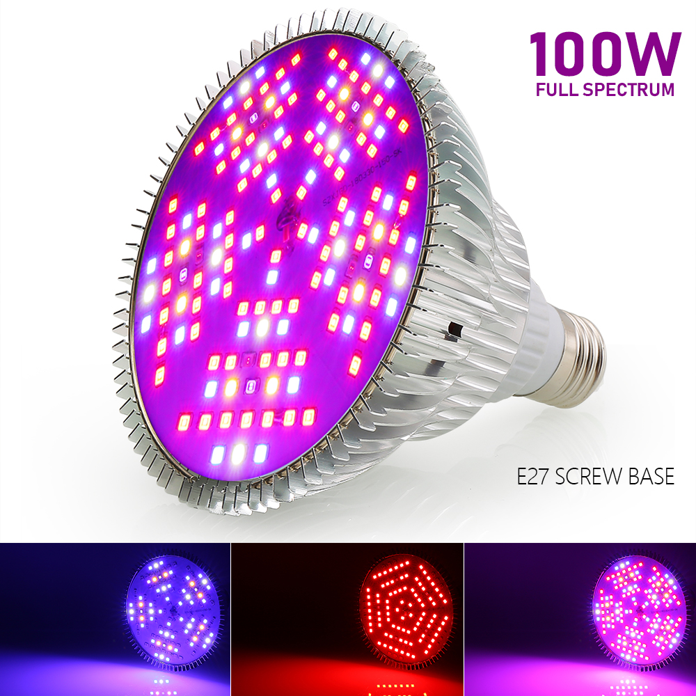 100W Plant Light LED Grow Light Full Spectrum Bloom Growth Phyto Lamp Hydroponic Led Bulb For Flowers Seeds Indoor Plants E27