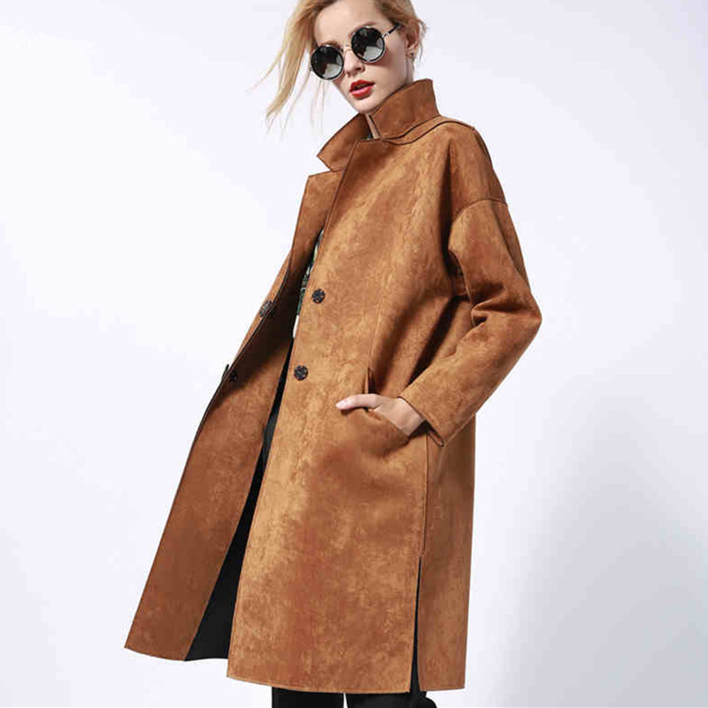 Warm Lapel   Suede   Loose Long Trench Women Autumn Winter Fashion Casual Slim Overcoat Button Faux   Leather   Cocoon Windbreaker 1635