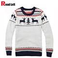 Invierno Nueva Moda Hombre Marca Deer Christmas Sweater Pullover Hombres de Manga Larga Slim Fit Suéteres de Tejer O-cuello Jumper Pull Homme