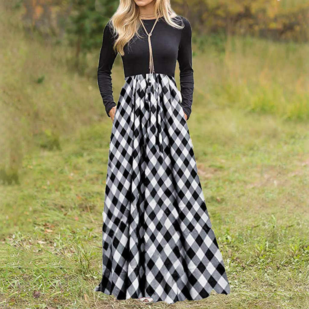 Модное женское платье, женское платье в клетку с длинным рукавом и завышенной талией, длинное платье макси с карманами, женские платья