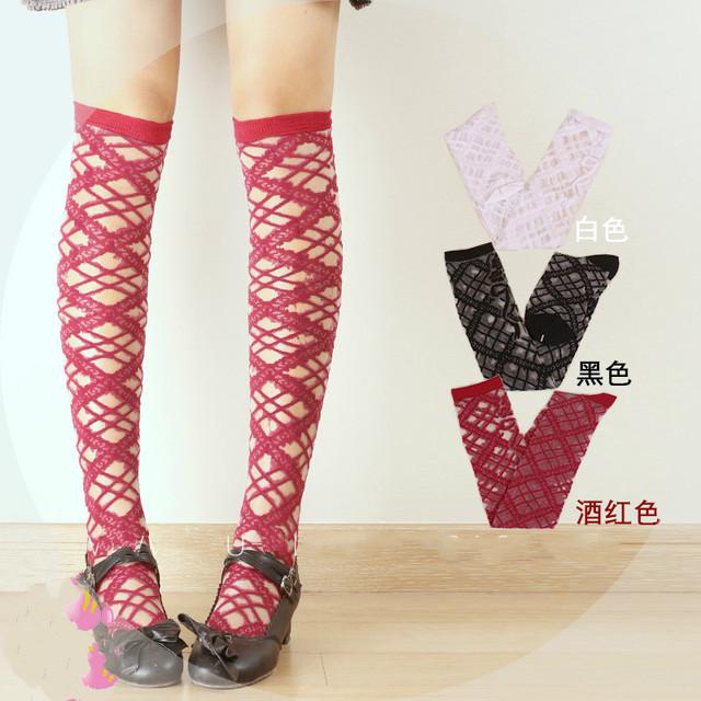 Princesa Lolita clássico meia HARAJUKU over-the-knee meias soks verão tiras cruzadas Preto original vidro cruz LKW301