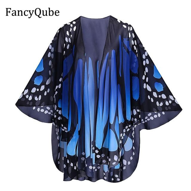 51f7b3de4d4 2017 Ethnic Flower Print with Butterfly Kimono Shirt Retro New Bandage  Cardigan Blouse Tops blusas chemise femme blusa