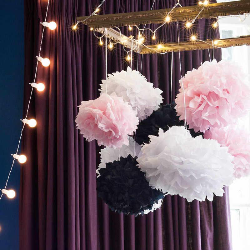 Pompón de papel de seda con pompón, bolas de flor de pompones para decoración de Sala de bodas, suministros para fiesta de cumpleaños, manualidades de papel DIY