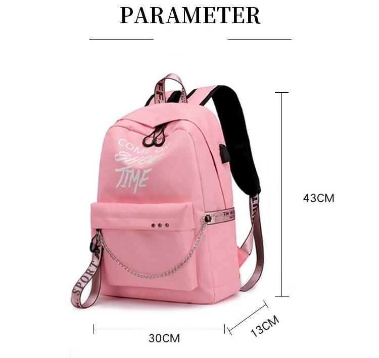 HTB1f2uvXEzrK1RjSspmq6AOdFXal Winmax Luminous USB Charge Women Backpack Fashion Letters Print School Bag Teenager Girls Ribbons Backpack Mochila Sac A Dos