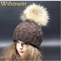 Adult Lady Fashion Natural Real Raccoon Fur Pom pom Beanie Hat Cable Crochet Knitted Women Winter Hat Cap With Fur Hairball Top