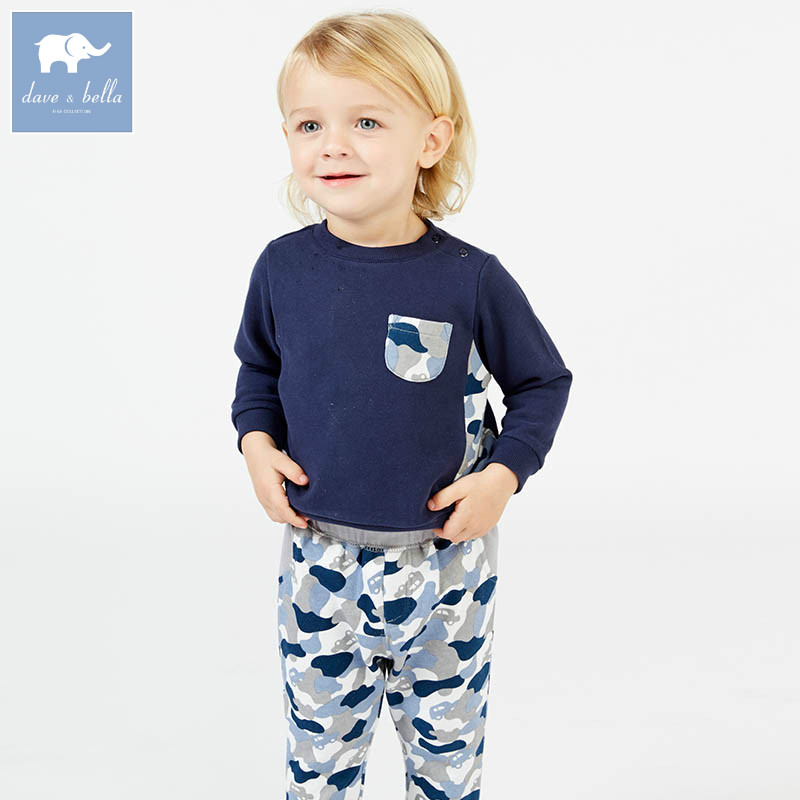DB7634 dave bella spring baby boys navy clothes kids camouflage clothing sets toddler children suit high quality infant outfits db7386 dave bella spring baby boys clothing sets panda print toddler children suit high quality infant outfits
