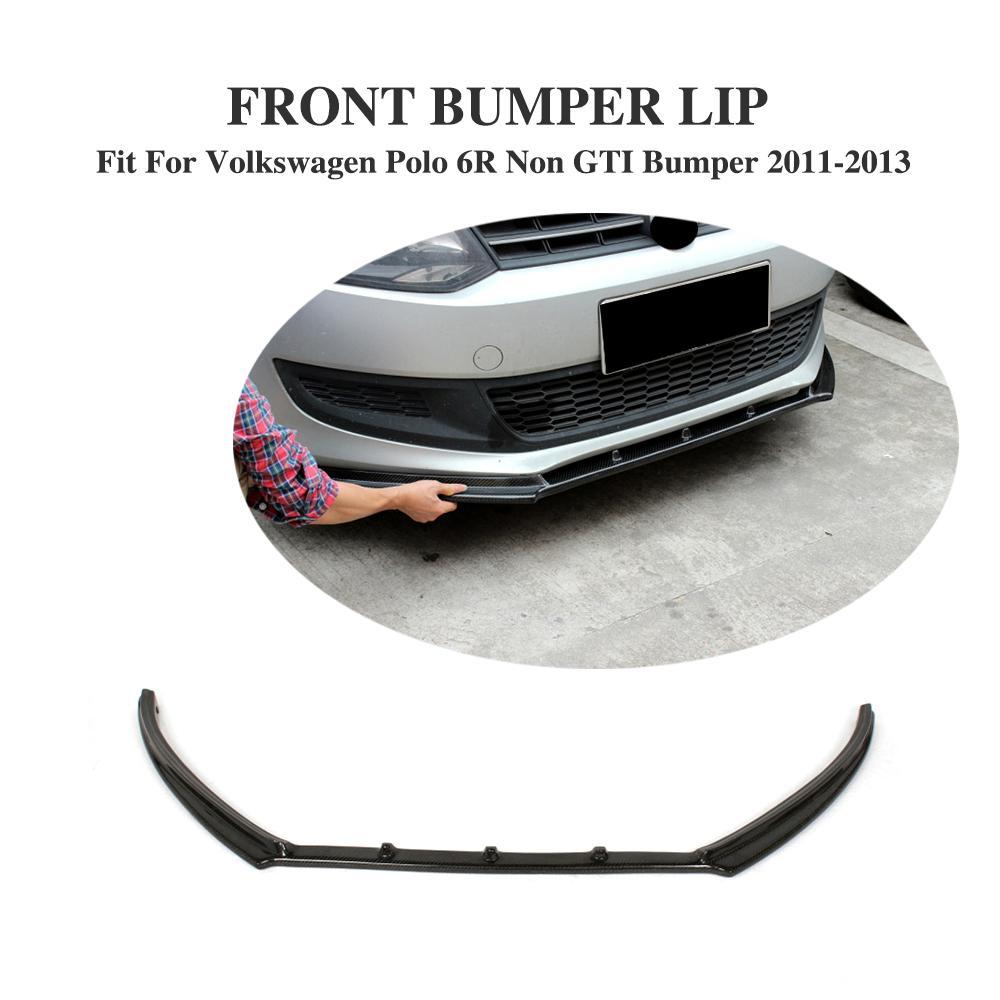 цена на Carbon Fiber / FRP Front Bumper Lip Spoiler Aprons Fit for VW Polo 6R Non GTI Bumper 2011 - 2013