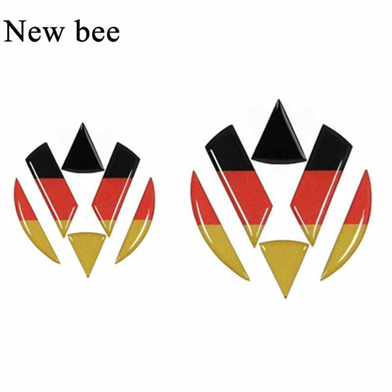 Newbee VW Emblem Steering Wheel Car Sticker Germany Flag Decal For Volkswagen Golf 6 7 Polo Beetle Passat CC R36 Front Rear Logo