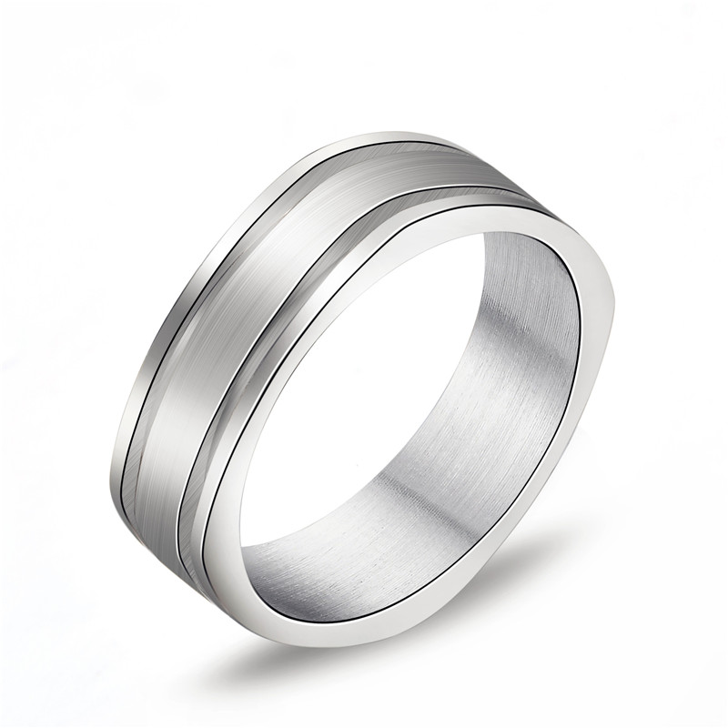 baiser 6mm 316 titanium stainless steel square ring engagement wedding charm rings men women - Square Wedding Rings