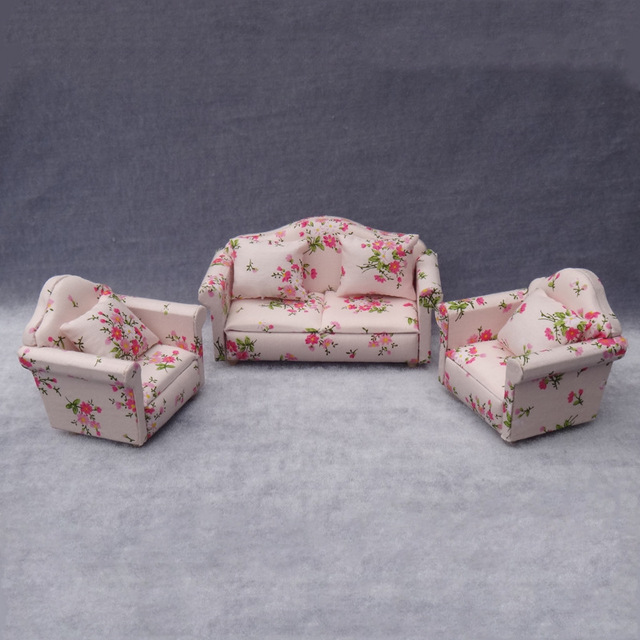 1:12 Doll House Dollhouse Furniture Toy For Dolls Mini Double Soft Sofa  Pretend Play