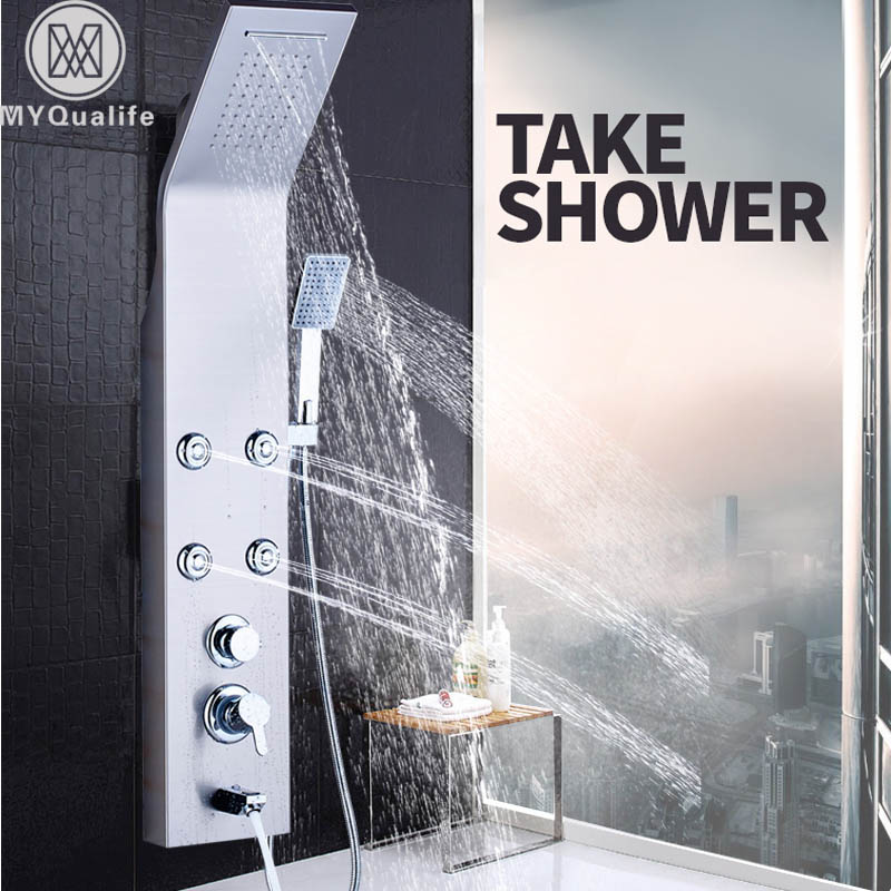 Brushed Nickel Shower Panel Wall Mount Waterfall Rain Shower Mixer Faucet Stainless Steel SPA Massage Sprayer Shower Column Tap