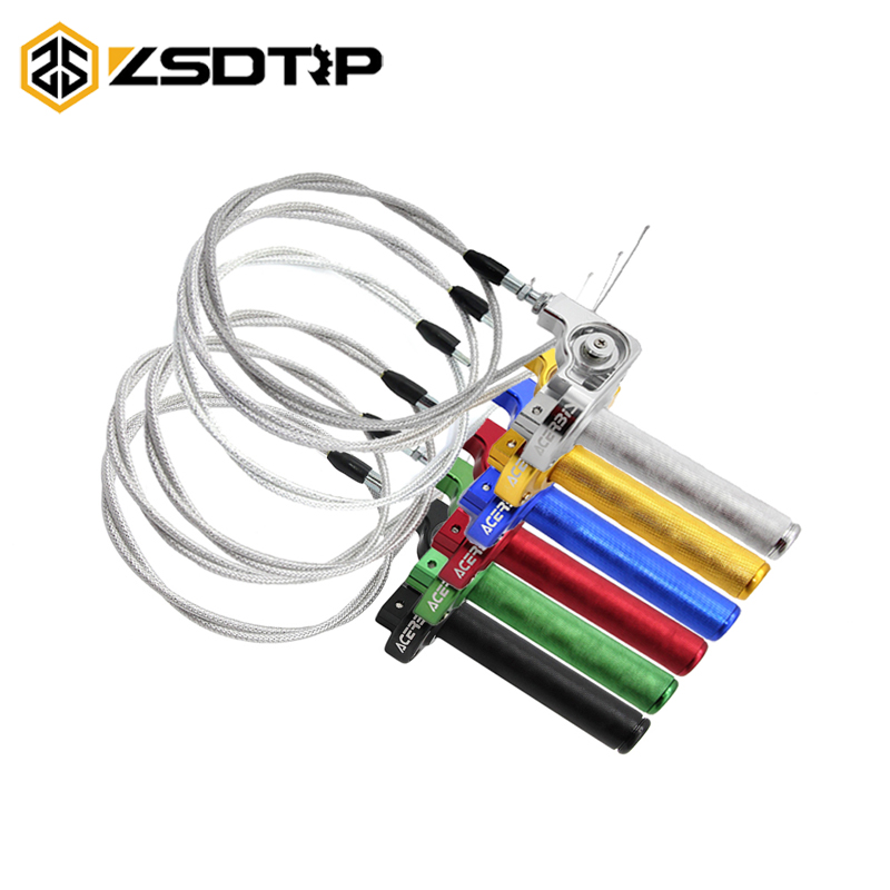 ZSDTRP 22mm CNC Aluminum Throttle Grip Quick Twister + Throttle Cable For 125-250cc ATV Dirt Pit Bike Motorcycle Racing