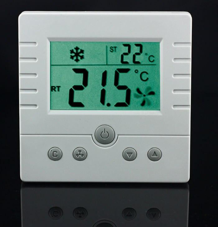 TFY-308 комнатный термостат AC220V для 3-скорости вентилятора катушки и клапаном с электроприводом conrol большой ЖК-дисплей (без подсветки)