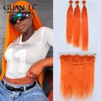 Guanyuhair оранжевый пучки волос с фронтальной синтетическое закрытие уха до уха прямые волосы Remy оранжевый натуральные волосы Weave 3 Связки браз