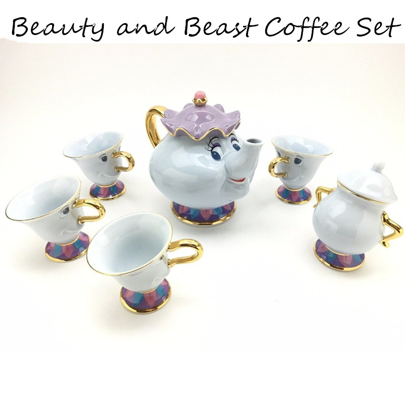 Cartoon Beauty And The Beast Coffee Pot Cup Sugar Set Creative Kettle Mug Mrs Potts Chip 18K Goldplated Friend Gift