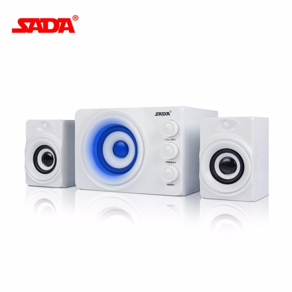 SADA D 206 PC Computer Speaker 3 Horn Mobile Phone Laptop Desktop Speakers DC 5V Stereo Bass Column With Blue Atmosphere Light