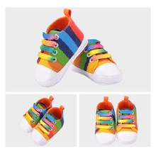 2017 Colorful Baby Shoes Rainbow Designer Shoes Striped Baby Toddler Shoes