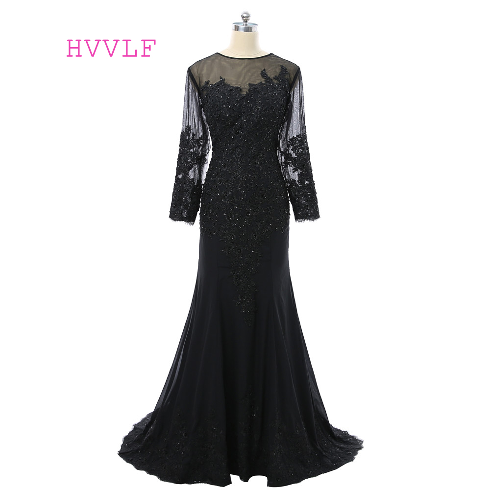 Black Robe De Soiree 2019 Mermaid Long Sleeves Tulle Appliques Beaded See Through Long   Prom     Dresses     Prom   Gown Evening   Dresses