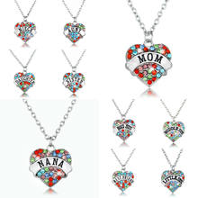 Crystal Heart Pendant Necklace NANA Grandma Sister Aunt Niece Friend Family Gift BFF Women Jewelry Charm Mother's Day Necklaces(China)