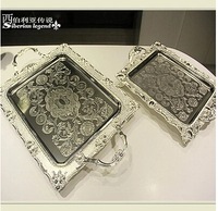 37*26cm rectangle silver metal tray metal cake trays decorative serving trays food serving plate FT020